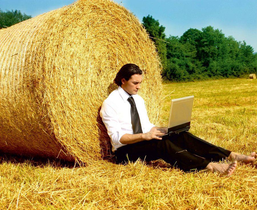 Специалист с ноутбуком на поле