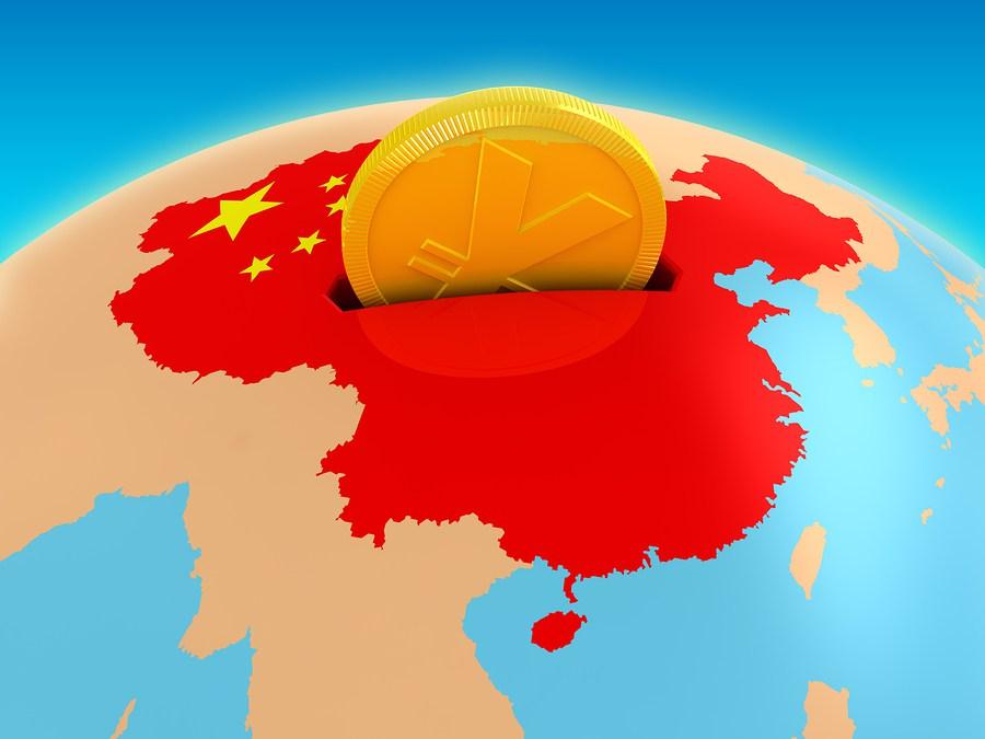 Планета, карта Китая и юань