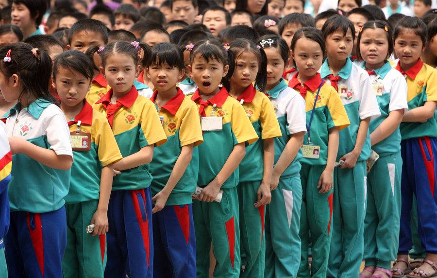 китайские школьники на празднике