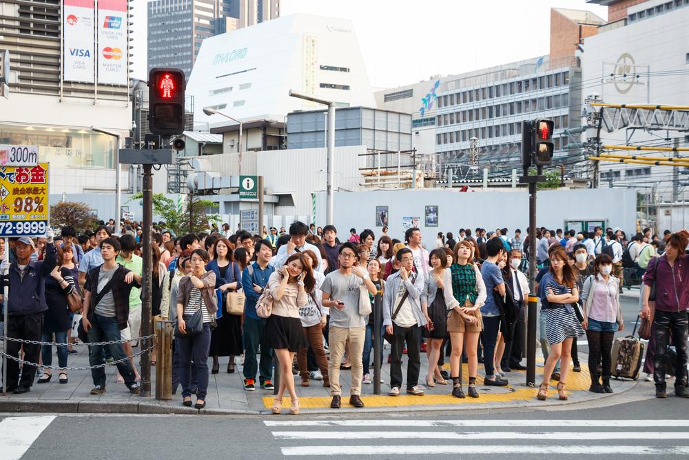 Оживленная улица в японском городе
