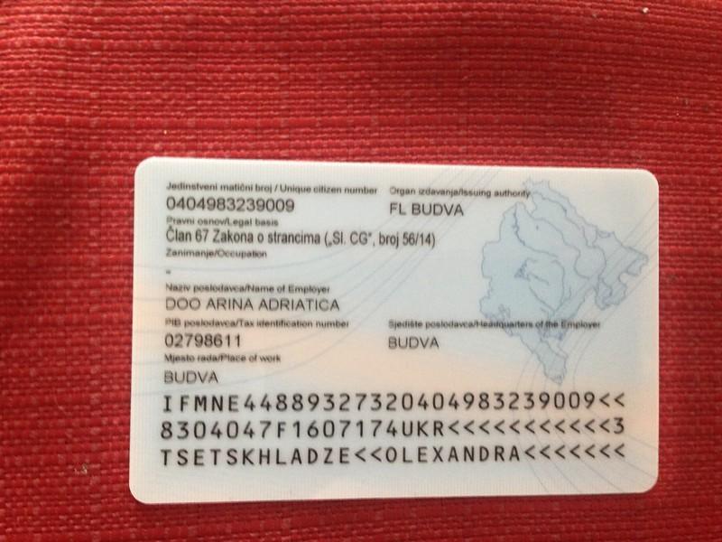 Пример ВНЖ в Черногории