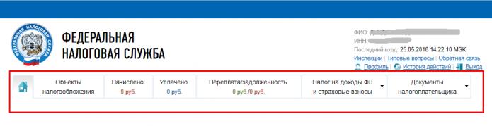 Скриншот с лк с сайта ФНС РФ