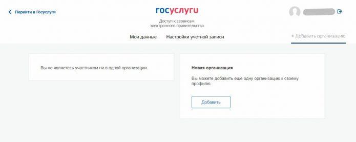 Скриншот с портала госуслуг с возможностью создать профиль организации